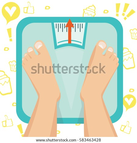 Feet on weighing scales. Vector illustration