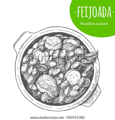 Feijoada top view vector illustration. Brazilian cuisine. Linear graphic.