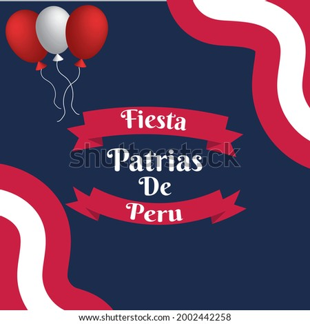 Felices fiestas patrias .English Translation:  Independence Day of Peru. national tri colored ribbon background Foto d'archivio ©