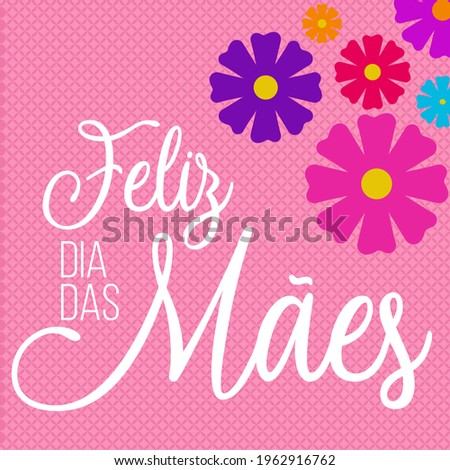 Feliz Dia das Mães floral com fundo rosa e flores Foto stock ©
