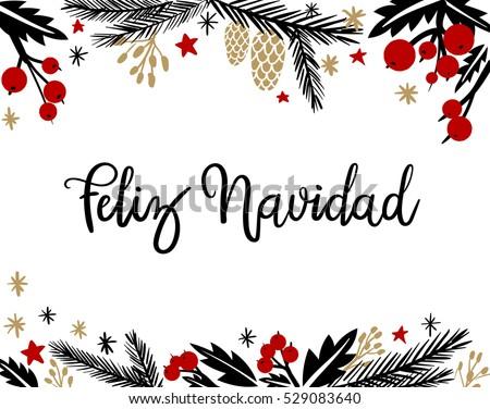 Shutterstock Feliz Navidad Hand Lettering Greeting Card. Vector Illistration. Modern Calligraphy.