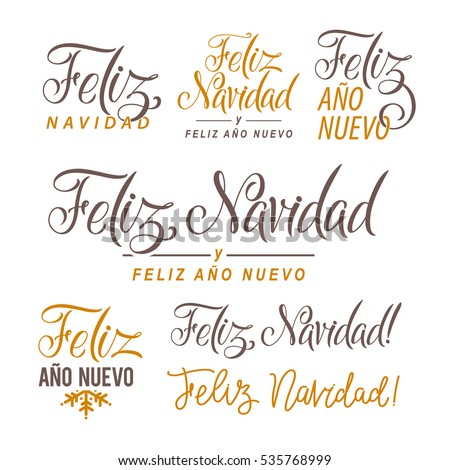 Shutterstock Feliz Navidad Hand Lettering Text Set. Greeting Card Design Template. Merry Christmas and Happy New Year Typography Label in spanish. Vector illustration EPS10