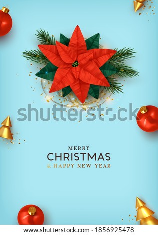 Feliz navidad. Merry Christmas and Happy New Year. Xmas Background design realistic beautiful Poinsettia flower - red Christmas star. Blue poster, holiday banner, flyer, stylish brochure.