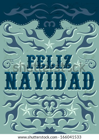 Feliz Navidad - Merry Christmas spanish text - vector - Grunge effects can be easily removed