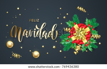 Spanish christmas greetings download free vector art stock feliz navidad spanish merry christmas holiday golden calligraphy and gold decoration greeting card template vector m4hsunfo
