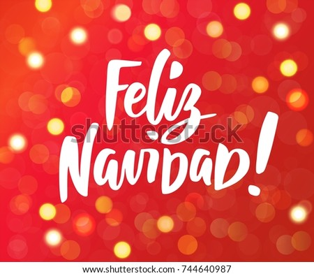 feliz navidad spanish merry christmas text hand drawn letters red and gold glowing