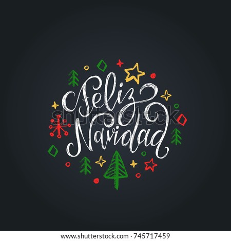 Shutterstock Feliz Navidad translated from Spanish Merry Christmas lettering on black background. Vector hand drawn illustration of snowflakes, stars and spruces. Happy Holidays greeting card, poster template.