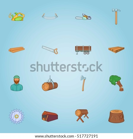 felling of trees icons set