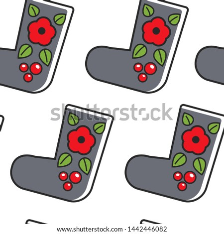 Felt boots Russian traditional footwear seamless pattern vector shoes with ornament flower and berries endless texture traveling and tourism Russia traditions and customs wallpaper print clothing.
