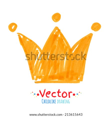 Felt pen childlike drawing of crown Vector illustration isolated