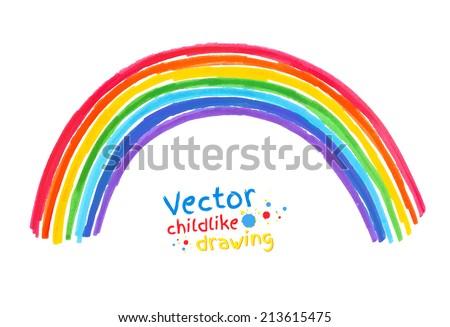 Felt pen childlike drawing of . Vector illustration. isolated.