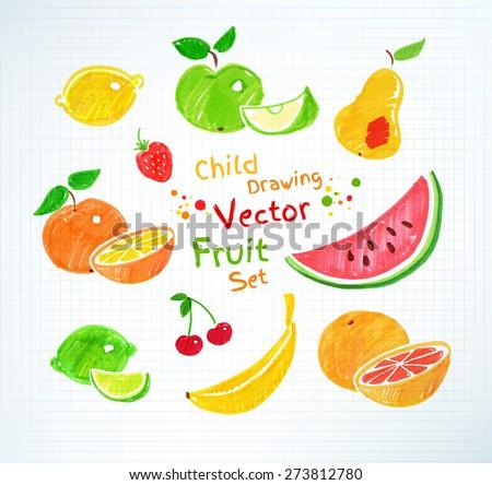 felt pen childlike drawings of