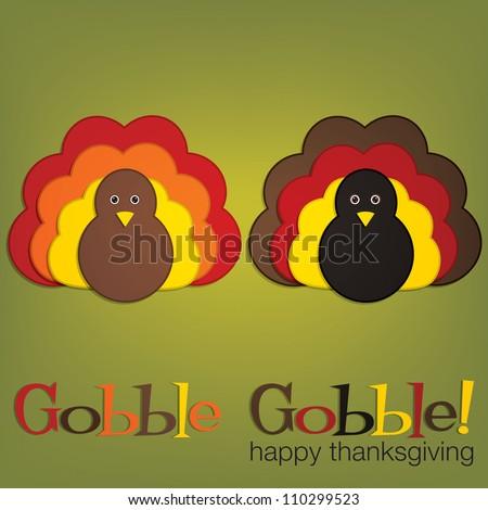 Felt turkey Thanksgiving card in vector format.