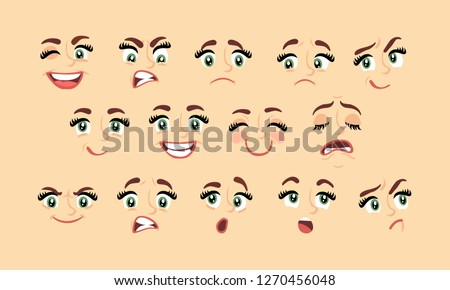 Female abstract cartoon face expression variations, emotions collection set, vector illustration