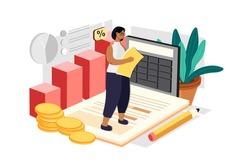 Female Accountant Calculating Company Finance Illustration concept. Flat illustration isolated on white background.