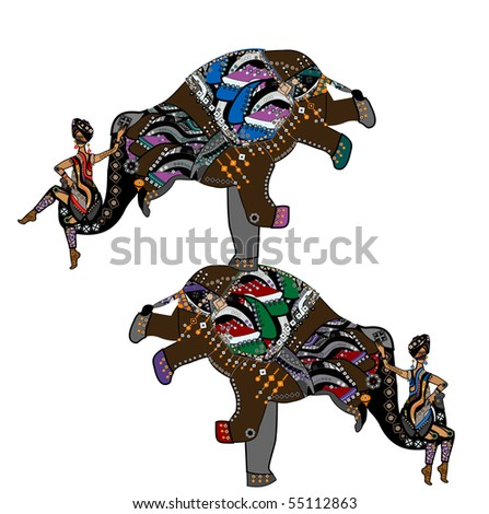 female acrobats show performance with elephants in ethnic style