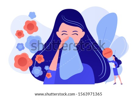 Female allergic to spring flowers sneezing and taking medicine. Seasonal allergy, seasonal allergy diagnosis, pollen allergy immunotherapy concept. Pinkish coral bluevector vector isolated ストックフォト ©
