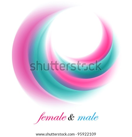 female and male abstract symbolic illustration, logo (ideal for beauty concept works)