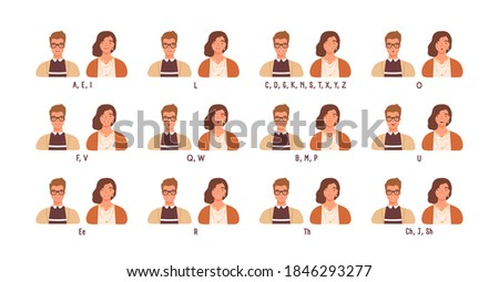 Female and male character practicing english speech. Mouth expressions and positions. Different sounds pronunciation set for animation. Flat vector cartoon illustration isolated on white background Foto stock ©