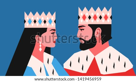 Female and male characters, face to face, side view, wearing crowns and royal ermine mantles. Vector illustration