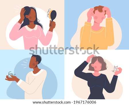 Female and male characters loosing hair. People with a comb and with a tuft of hair in their hands. Hair loss, baldness, alopecia in young age, hair problems. Set of flat cartoon vector illustrations