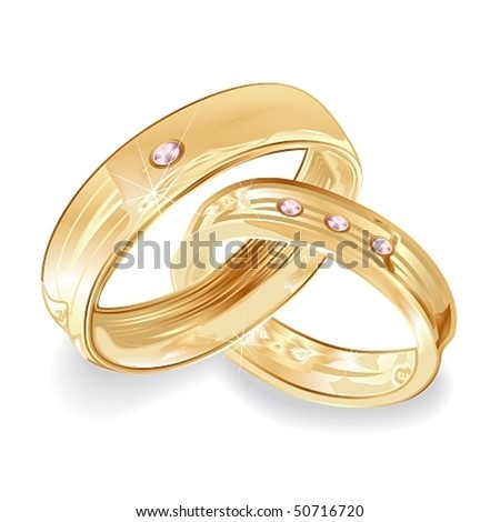 stock vector Female and male gold wedding rings vector illustration