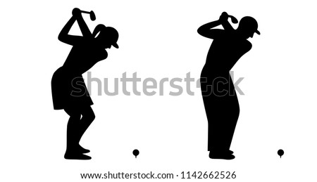 Female and male golfer shanking a ball / black and white / flat design / vector / icon