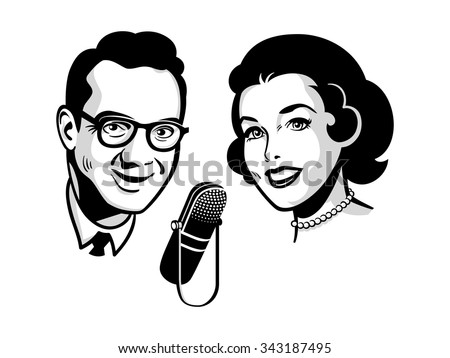 female and male presenters on