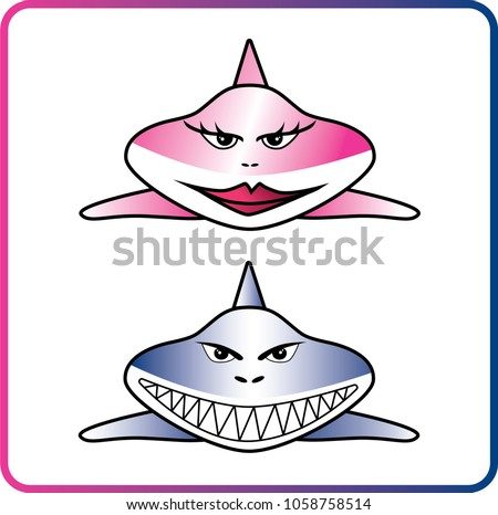 female and male shark cartoon