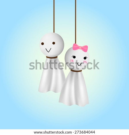 female and male teru teru bozu