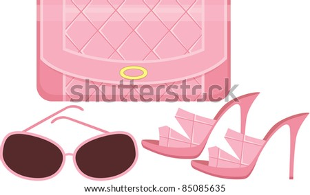 Female bag, shoes and sun glasses. vector, no gradient