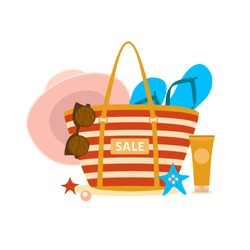Female bag with beach accessories and sign