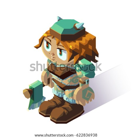 Stock Photo Female barbarian fighter knight viking isometric role playing game character on white background