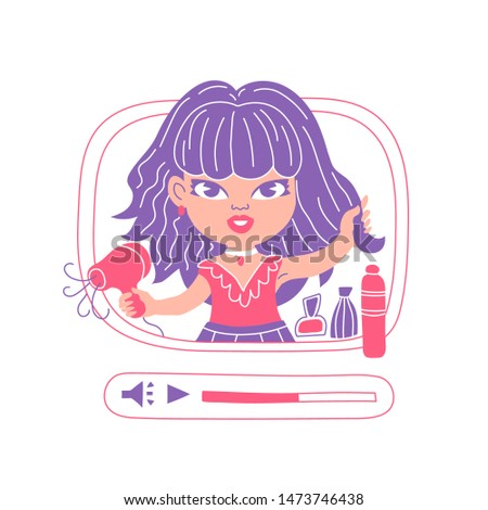 Female beauty blogger streaming, cute cartoon character isolated on white. Woman hairstyling with blow dryer. Hairdo tutorial video. Pink and violet vector illustration of a fashion diva commercial.