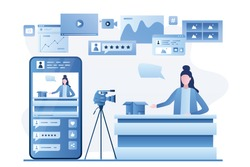 Female blogger create video content. Unboxing video, product review. Woman vlogger on workplace,modern camera on tripod. Smartphone with online stream in social media. Vector illustration
