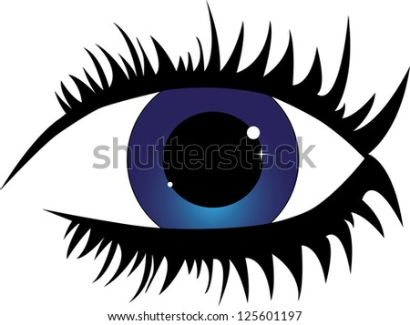 Female blue eye with eyelashes
