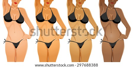 Female body in bikini with different skin tone color