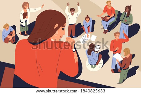 Female boss looking at company processes vector flat illustration. Diverse people colleagues during work or job daily routine. Concept of leadership, control of business process and supervision
