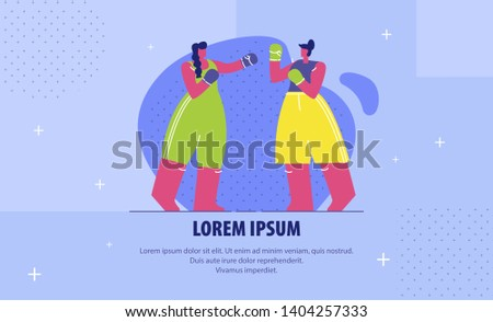Female Boxing Fight Flat Banner Vector Template. Competitors, Contenders Cartoon Characters. Championship Match, Self Defence School Advertisement. Boxers in Gloves Illustration with Text Space
