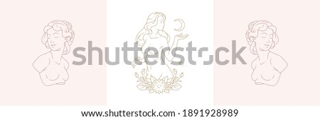 Female busts and magic woman with moon crescent in boho linear style vector illustrations set. Elegant bohemian emblems in golden lines feminine symbols for mystic logo and cosmetic packaging
