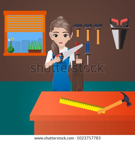 Female Carpenter Holding Saw