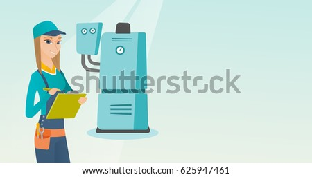Female caucasian plumber making some notes in her clipboard. Plumber inspecting heating system in boiler room. Female plumber in overalls at work. Vector flat design illustration. Horizontal layout.