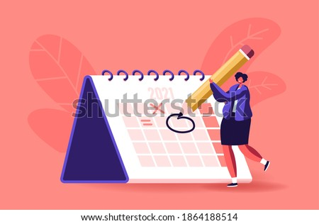 Female Character Circle Date on Huge Calendar Planning Important Matter. Time Management, Work Organization and Life Events Notification, Memo Reminder, Work Plan. Cartoon Vector Illustration