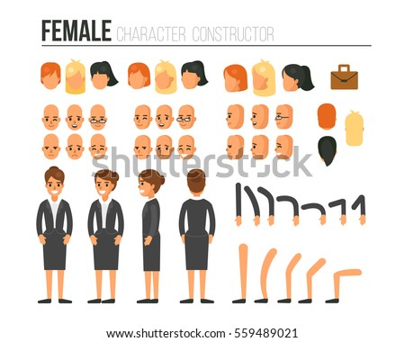 Female character constructor for different poses. Set of various women's faces, hairstyles, hands, legs. Flat style vector illustration isolated on white background.