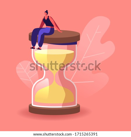 Female Character in Escape Room Conundrum. Woman Sit on Huge Hourglass, Time Management, Work Planning, Organization, Multitasking, Procrastination, Working Productivity. Cartoon Vector Illustration