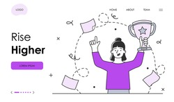 Female character is motivating to rise higher in business. Successful businesswoman is holding golden cup to celebrate win. Website, web page, landing page template. Flat outline vector illustration