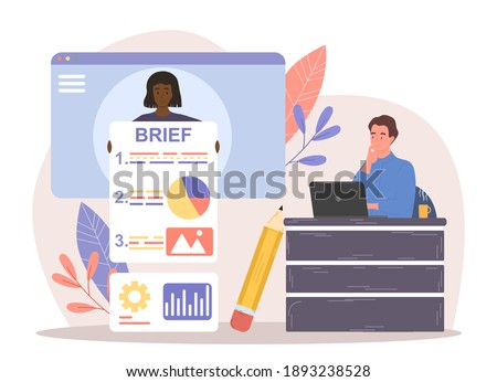 Female character is providing client brief for employees. Client is giving instructions for new project. Male character is sitting and working on laptop next to brief. Flat cartoon vector illustration Stockfoto ©
