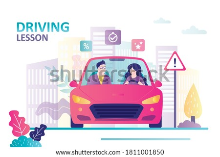 Female character learning to drive. Instructor sitting in car next to beginner driver.Concept of driving school, education and drive lesson. Woman and man sits in car. Flat vector illustration