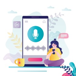 Female character record voice messages. Woman asks for help from voice assistant. Girl sits near screen with microphone and sound waves. Concept of ai technology and app interface. Vector illustration