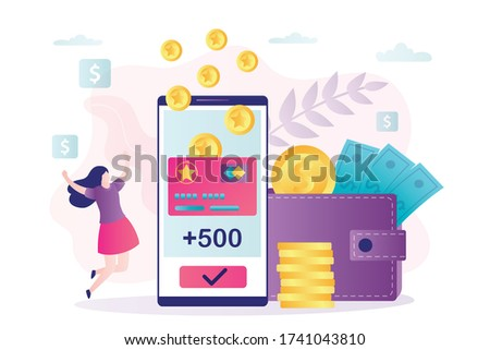 Female character rejoices in new accrued bonuses. Loyalty program, woman customer get rewards. Earn points concept. Phone screen with cashback and bonus card.Banner in trendy style.Vector illustration Foto stock ©